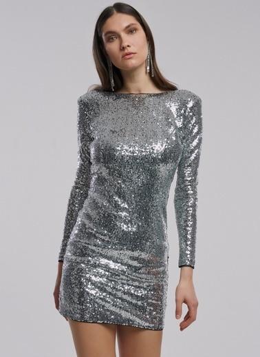 People By Fabrika Payetli Elbise Gümüş